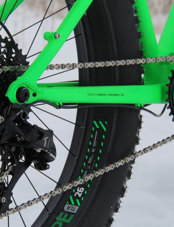 SRAM's very capable X1 drivetrain keeps the big tires turning