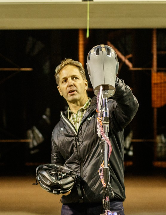Rob Wesson, Giro's head of R&D, talks us through the Thermonator in front of the wind tunnel's turbine