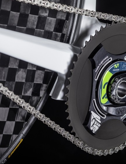 The new Campagnolo Pista crankset has a Power2Max power meter in the spider