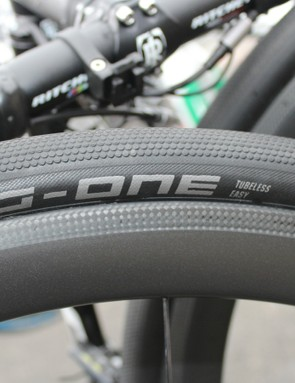 Schwalbe has been making tubeless road tyres since 2013. We spotted this 30mm tubeless G-One at Paris-Roubaix this year, but Schwalbe declined to comment on it