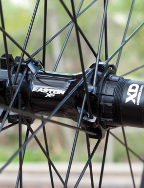 The new Easton X5 hubs are fairly standard bits with cartridge bearings, oversized aluminium axles, interchangeable end caps and freehub bodies, and a three-pawl ratchet driver with a relatively slow 17-degree engagement speed
