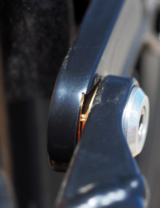 Whereas most full-suspension frames use aluminium bearing spacers, Durango uses cone-shaped ones made of brass that are machined in-house and said to be longer-lasting and less prone to creaking
