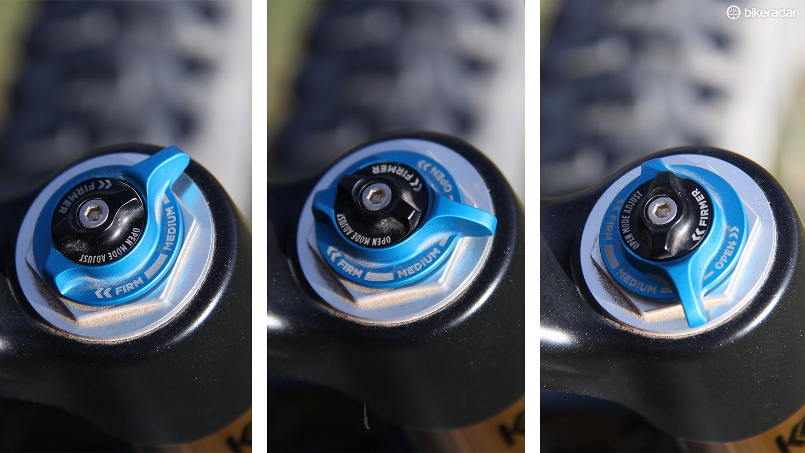 Fox updated its compression adjustment for 2016. The black dial lets you fine-tune compression in the open position, while the blue knob adjusts between open (left), platform (center) and locked-out (right)