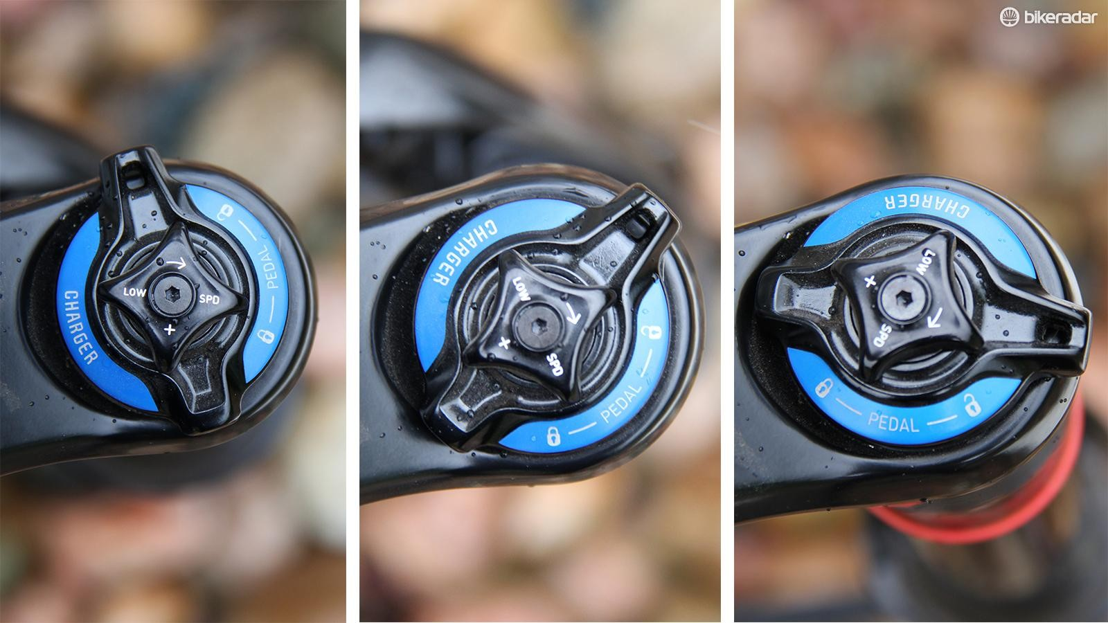 The compression adjustment on the RockShox Pike has an adjustable open position (left), a fixed, pedal-friendly compression mode (middle) and a fully locked-out mode (right)