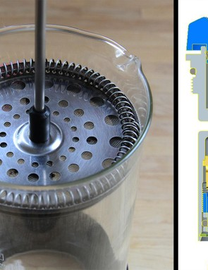 If diagrams of compression or rebound circuitry make your eyes glaze over, just think of them as a French Press: more holes mean it is easier to compress, while fewer holes would make it harder for you to compress the plunger, i.e., your fork or shock