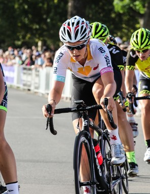 """""""The chamois in the knicks is something that also has a positive difference, due to the difference in shape and padding distributions. Once again it comes down to [the fact] that we're different down there and have different needs"""" - Tiffany Cromwell. (Pictured racing for Australia composite team Roxsolt; Cromwell usually races for Velocio-SRAM Pro Cycling)"""