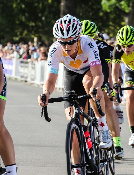 """The chamois in the knicks is something that also has a positive difference, due to the difference in shape and padding distributions. Once again it comes down to [the fact] that we're different down there and have different needs"" - Tiffany Cromwell. (Pictured racing for Australia composite team Roxsolt; Cromwell usually races for Velocio-SRAM Pro Cycling)"