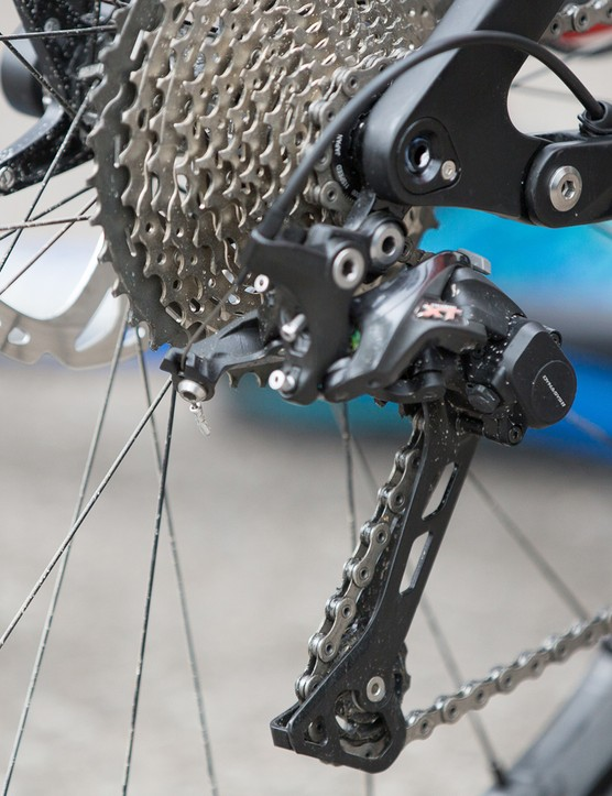 The M7000's Shadow Plus rear derailleurs follow XTR in providing a lighter shift effort, with external adjustability and increased clutch tension range