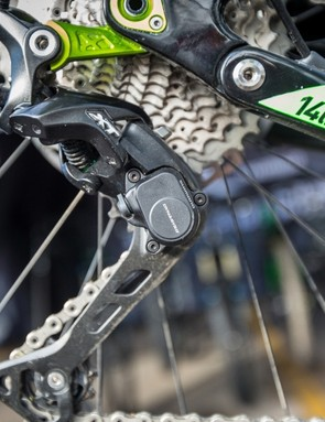 The rear derailleur now uses larger tooth pulleys for a claimed improvement in shifting and cross-chain performance