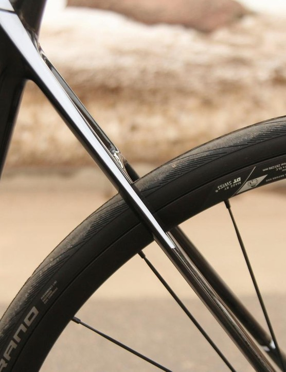 Thin stays mean flex; flex means comfort. And the absence of a rim caliper highlights the visual appeal of the design