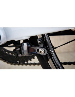 Mounting the back brake under the chainstay allows the rear triangle to flex for comfort