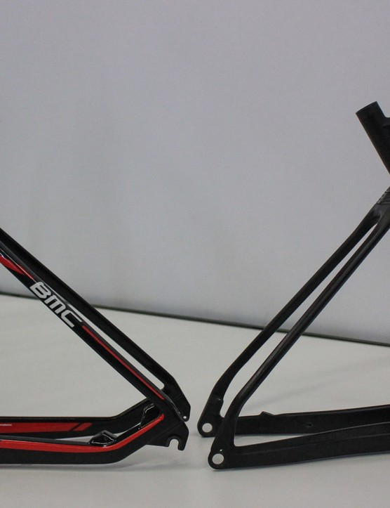 Old' versus New. On left is the 2015 BMC Teamelite 01, with the new 2016 prototype on right