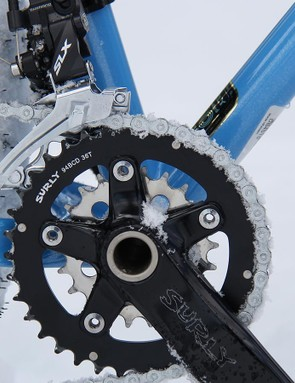 While 1x drivetrains are nice, there's no substitute for a granny ring. The 36/22t chainring combo suits this bike perfectly