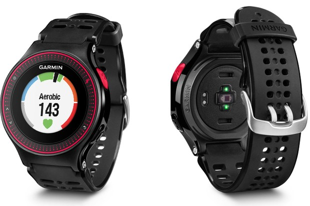 The Garmin Forerunner 225 has a built-in heart-rate monitor