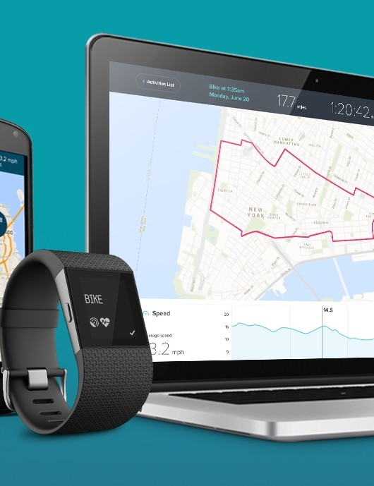 The FitBit Surge auto-uploads via Bluetooth to FitBit and, when paired, Strava