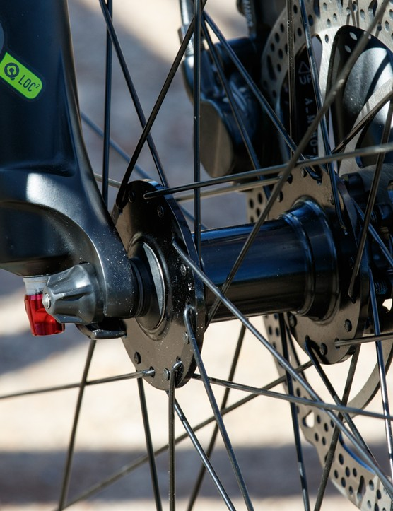 ...compare that with the standard quick release and open-dropout on the Merida One-Twenty 7.500
