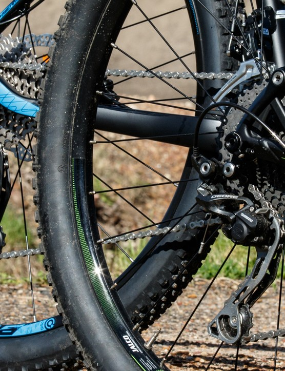 In this case, both bikes feature clutch-equipped rear derailleurs for improved chain security. However, the shifting is marginally smoother and more crisp on the hardtail's mostly Shimano XT setup