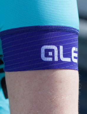 Laser cut hems at the sleeves sit close and contribute to the aerodynamic design of the jersey