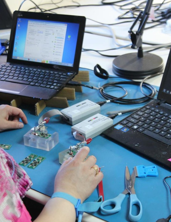 Similar to the strain gauges, each electronic board is tested before assembly