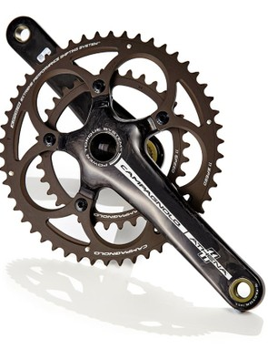 Campagnolo's Athena Carbon cranks are a quality lightweight option, though flex an be an issue