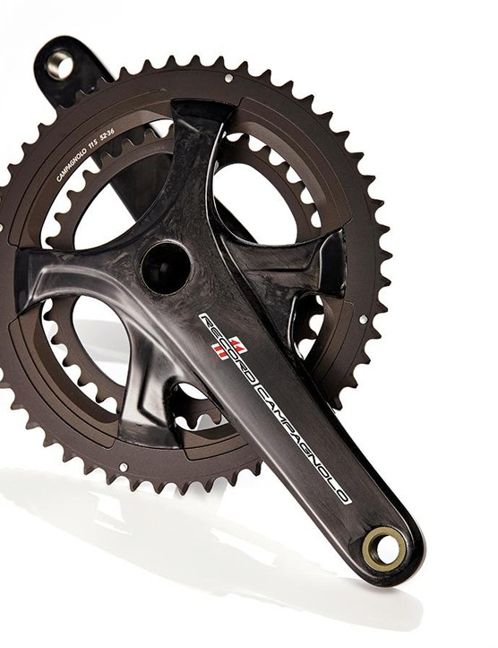 Campagnolo's four-arm Record crankset spins beautifully, but it's heavy for cost and the unique chainrings are a pain
