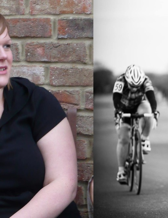 Left: Sabrina before taking up cycling, and right: in action on the road!