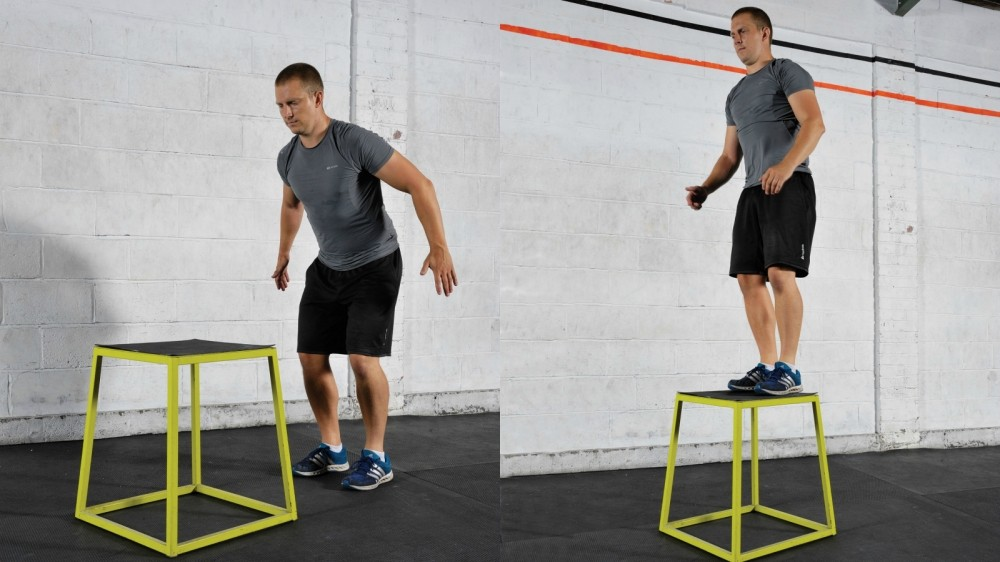 Box jumping or leaping up onto a bench will help you add power to your legs