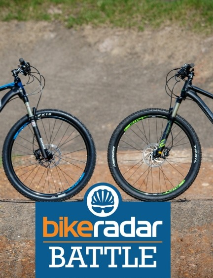 Hardtail vs entry-level full suspension mountain bikes. We look at two equally priced bikes from the same brand to seek the benefits