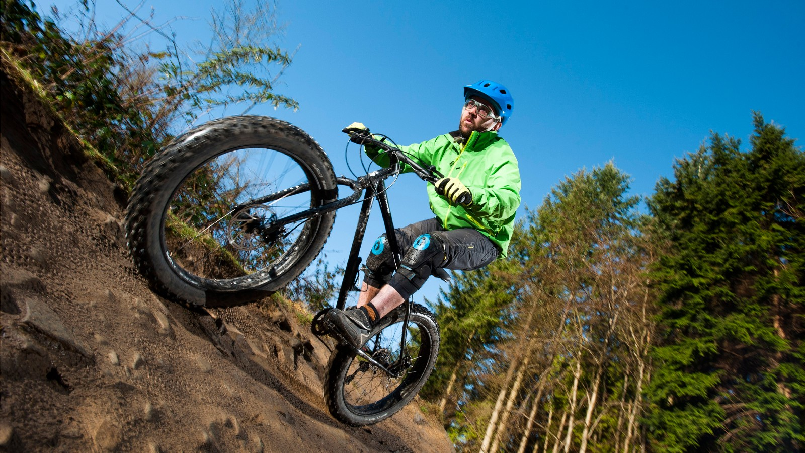Matt rails a rocky berm on the Forest of Dean's Verderer's trail
