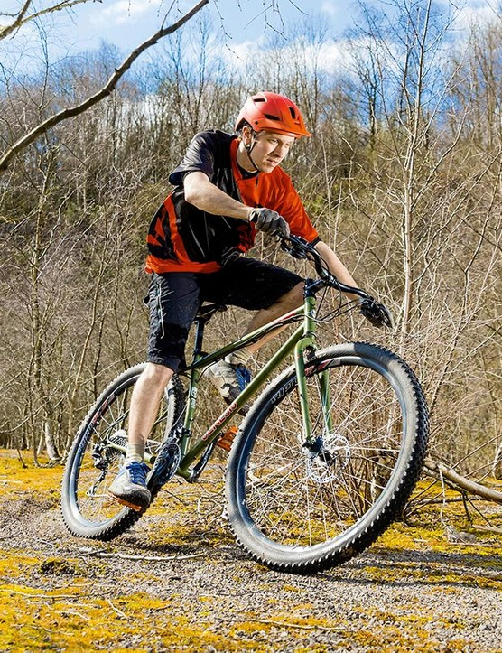 Chunky treads on stability- and volume-boosting wide rims are the best solution for rigid bikes, as are 29in wheels for their excellent rollover, and low-profile treads for momentum-holding speed