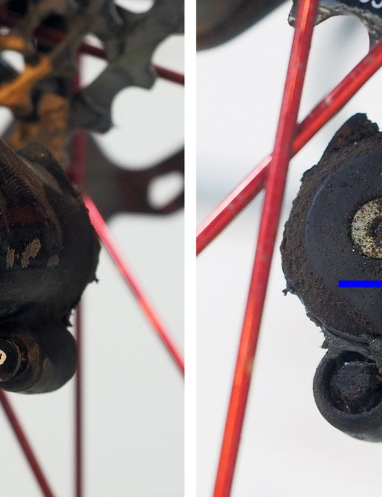 Got a SRAM clutched rear derailleur? Early ones were especially prone to occasional creaking but injecting some grease through this hole can help