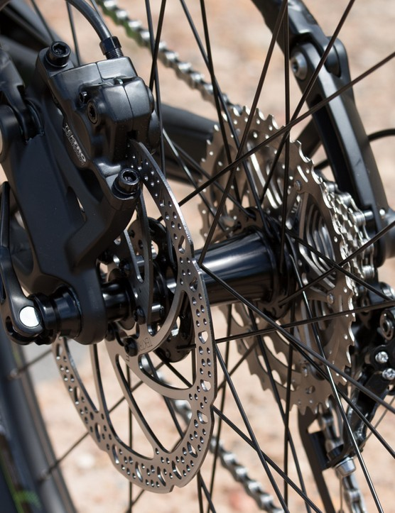 An easy-access 180mm post brake mount handles the rear stopping forces
