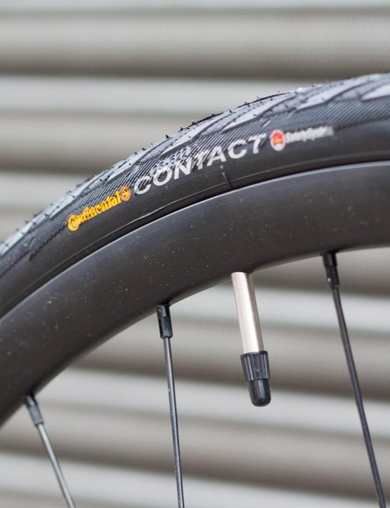 An internal diameter of 17mm means the tubeless ready Alex rims can take a much bigger tyre than the 28mm Continentals that are fitted as standard