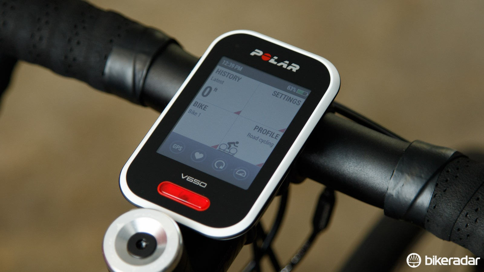 Polar's V650 features a high contrast 2.8in (7.1cm) colour touch screen