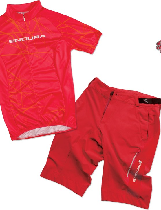 Singletrack Jersey and Gloves, with Singletrack Lite shorts - bright designs, ideal for summer riding