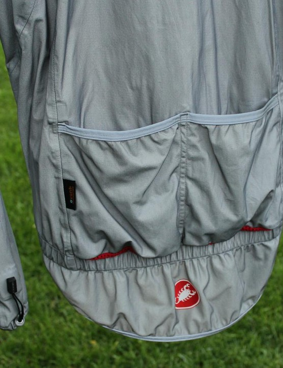 Although they seemed odd at first — 'why do you need pockets on a rain jacket?' - I used the pockets quite a bit. For instance, rainy days often deliver flat tires — and jamming the flat tube in a pocket is easier than packing it back into a saddle bag