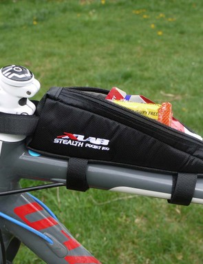 A top tube-mounted 'bento box' is handy and, being in your eyeline, reminds you to eat