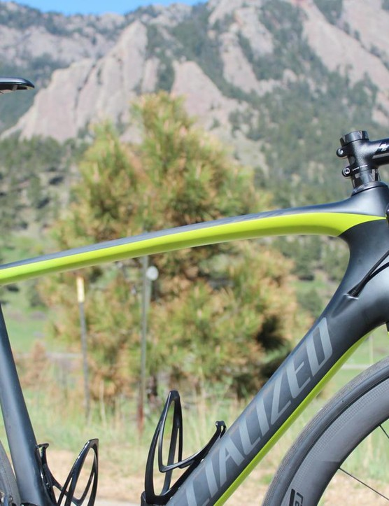 With rim calipers removed and cables and hoses hidden inside the frame, the Tarmac Disc Pro offers clean lines