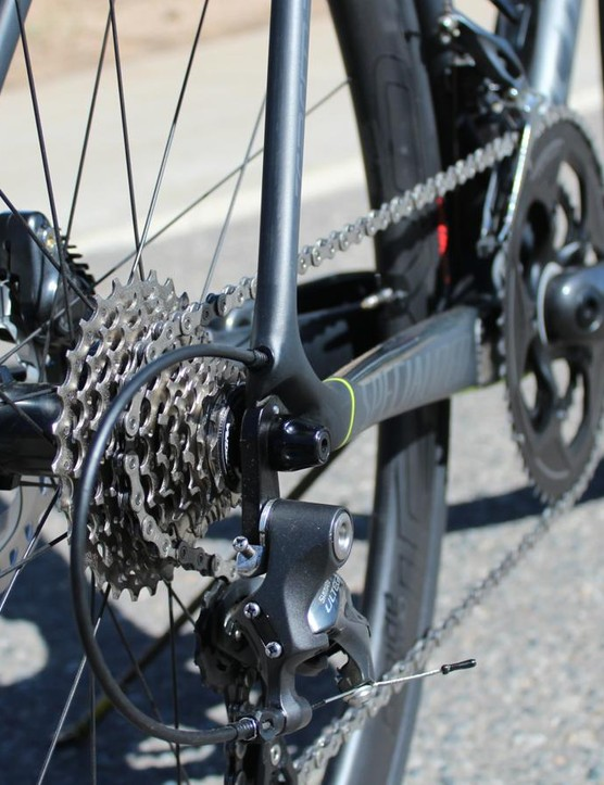Specialized uses unique rear hub spacing to keep the chainstays short (405mm) for racy handling while still fitting in the disc rotor and keeping a good chainline. The total package is excellent, but it means you can't switch wheels