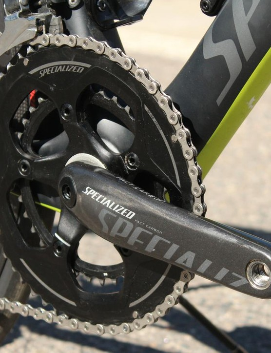 The Specialized carbon crank is light and stiff. We are big fans of the 52/36 semi-compact gearing