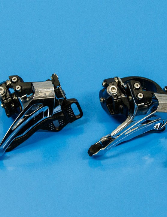 There are four main mount types in Shimano's latest 11 speed ranges. From left to right - direct mount, E-type, low clamp, high clamp