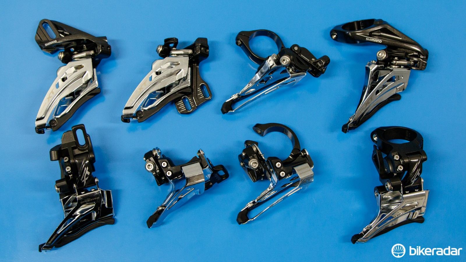 Front derailleur options are staggering. For example, pictured are just the Shimano XT M8000 2x11 front derailleur options