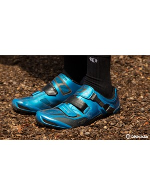 Shimano's XC90 MTB shoes are hard to miss in blue, but are also available in a simpler black option