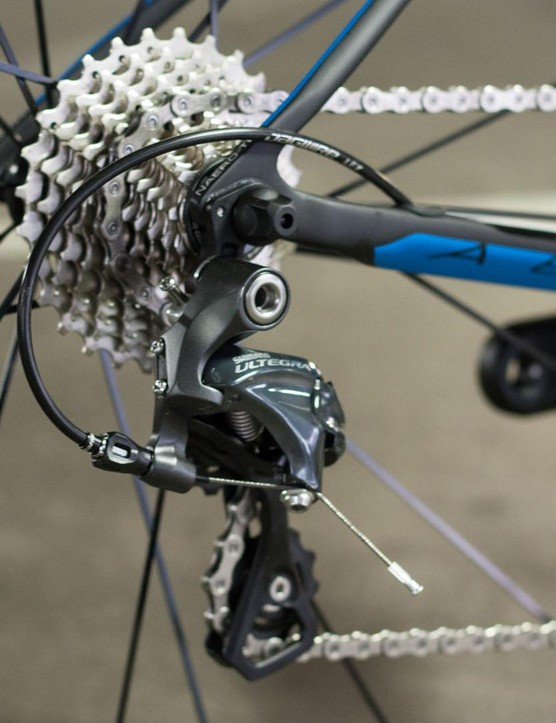 The Ultegra drivetrain comes with an 11-28 cassette that's sensible for training and racing on hilly courses