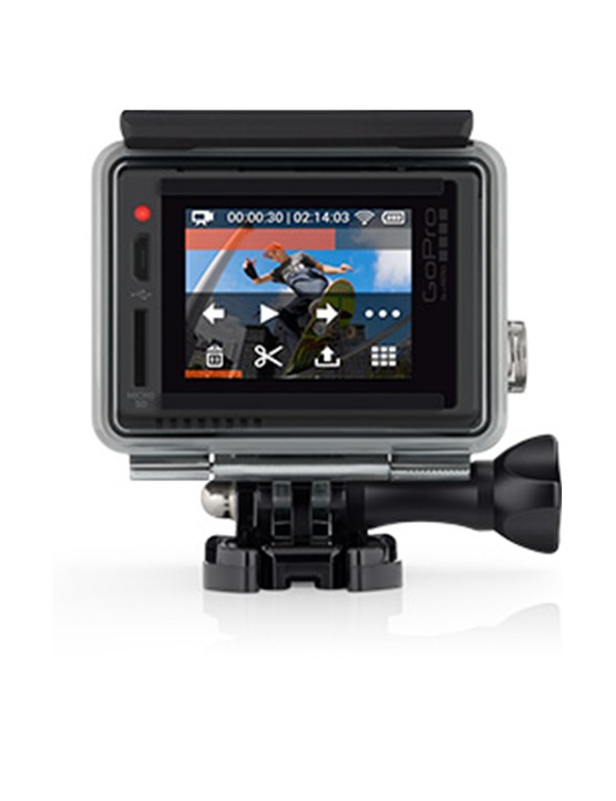 Users can frame shots, replay stills and video and share edts from the GoPro+ LCD