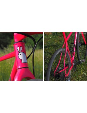 Zukas is of Lithuanian descent and his last name translates as 'white rabbit', which conveniently makes for a perfect inspiration for a head tube logo. The mega-curved, pencil-thin seatstays have become somewhat of a trademark for him