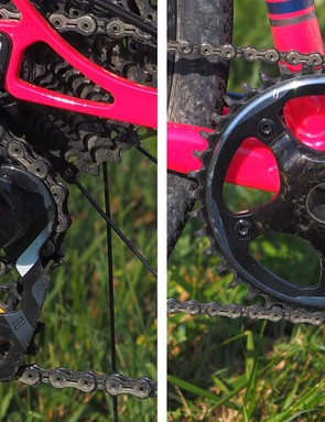 The 1x drivetrain is anything but standard. The SRAM chainring has been modified to fit Campagnolo's proprietary spider pattern while the rear derailleur has more pulley cage tension than usual so as not to require a heavier (and visually bulkier) 1x-specific clutched model