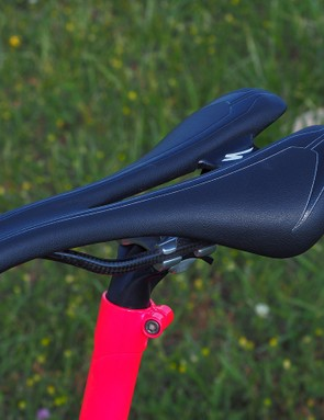 The extended seat tube is topped with a chopped-down Ritchey seatpost and a carbon railed Specialized Romin Evo saddle