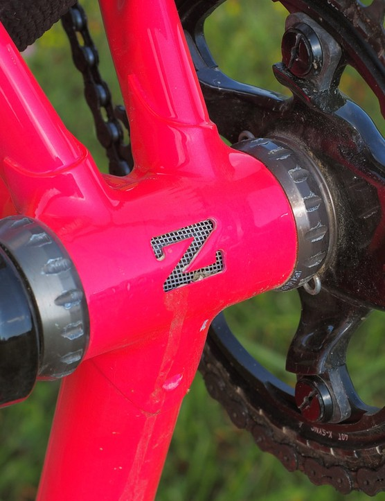 Another Zukas signature is the Z-shaped bottom bracket drain, which is lined with a bit of stainless mesh that lets water escape but keeps out debris