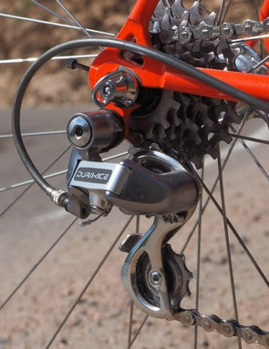 The Shimano Dura-Ace rear derailleur moves the chain across just seven sprockets
